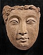 TÊTE DE BOUDDHA EN TERRE ET GYPSE ART GRECO-BOUDDHIQUE DU GANDHARA, II ème - IV ème SIÈCLE