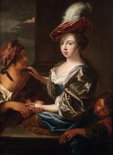 École Française du XVIIIe siècle, entourage de Raoux   La diseuse de bonne aventure   Huile sur toile   96 x 70 cm