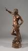 Antonin MERCIE (1845-1916)   David vainqueur de Goliath   Groupe en bronze à patine brune sur une colonne d'onyx   Hauteur totale : 198 cm - Hauteur bronze : 93 cm