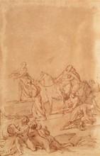 École Italienne du XVIIIe siècle   Scène mythologique   Sanguine   30 x 20 cm