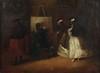 Attribué au Maestro de Riflessi   (Actif à Venise au XVIIIe)   L'atelier du peintre   Les préparatifs du bal   Paire de toiles   52 x 72 cm   Accidents et manques   Petites restaurations anciennes