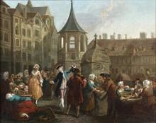 École Française du XVIIIe siècle   La Place du marché   Huile sur toile   31,5 x 40,5 cm