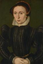 Suiveur de Corneille de Lyon   Dame de l'aristocratie   Huile sur toile parquetée   38 X 28 cm