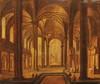 (Attribué à) Christian STOCKLIN   Intérieur d'église   Huile sur panneau   22,4 x 26,8 cm.