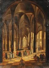 Christian STOCKLIN   Intérieur d'une église   Signé en bas au centre et daté 178...   33,5 x 24,5 cm