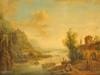 Franz SCHUTZ   Animation au bord d'une rivière   Huile sur panneau   21,5 x 27 cm