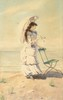 Léon ABRY (1857-1905)   Femme à l'ombrelle sur la plage   Aquarelle sur papier signée en bas à droite et datée 84   47 x 32,5 cm