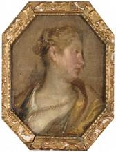 École italienne du XVIe siècle   Portait de femme au collier de perle   Huile sur toile marouflée sur panneau   24,5 x 18,5 cm
