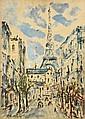Filippo De PISIS (1896-1956)  Rue animée à Paris