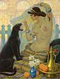 Ludovic ALLEAUME (1859-1941)  Orientale domptant une panthère