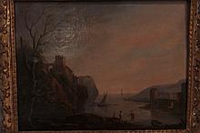 Bord de mer animé de trois personnages et ville dans le fond