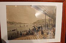 Lot de trois gravures en couleur: figurant des élégantes et des élégants en promenade en bord de mer