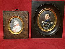 (Lot F) Trois miniatures : Mr Lebrun et deux militaires Empire.