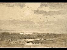 Édouard VAN GOETHEM - Coucher de soleil sur la plage.