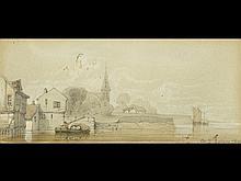 Comte E. LEHON - Vue d'un village en bordure d'un fleuv