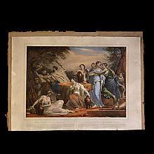 Moisés defiende a las hijas de Jetró. Principios del siglo XX. Moïse Défend Les Filles de Jethro. Grabado a color. Paris.