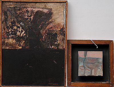Pablo Amor. a) Sin título. Firmado y fechado, 1975. 4 x 30 cm b) Habitat. Firmado y fechado, 1974. Óleo sobre tela. 12 x 12 cm Piezas: