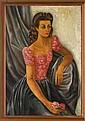 JUAN SORIANO, Retrato de la Sra. María de Guadalupe Rascón de Camarena, Firmado 43. Óleo sobre triplay, 92.5 x 65 cm Con certificado