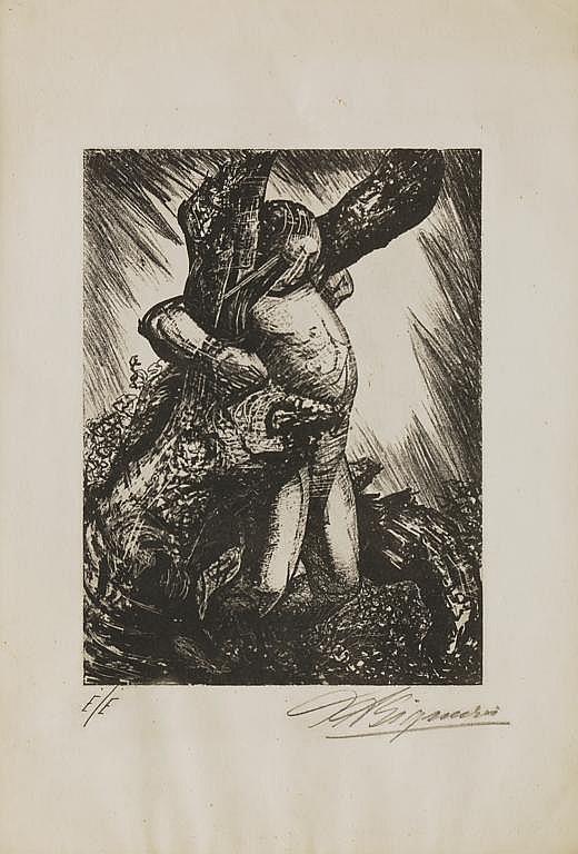 DAVID ALFARO SIQUEIROS, Vía crucis, Firmada. Litografia E / E, 30 x 22.5 cm