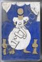 CHUCHO REYES, Niña con fondo azul, Firmada y con sello de inventario. Témpera y anilina/ papel de china, 75 x 49 cm