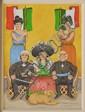 FRANCISCO OCHOA, Patria con Hidalgo y Morelos, Firmado y fechado Ene 1995. Óleo sobre tela, 40 x 30 cm