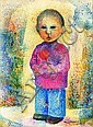 FANNY RABEL, Niña con manzana, Firmada, Litografía, 49.5 x 43 cm., Fanny Rabel, Click for value