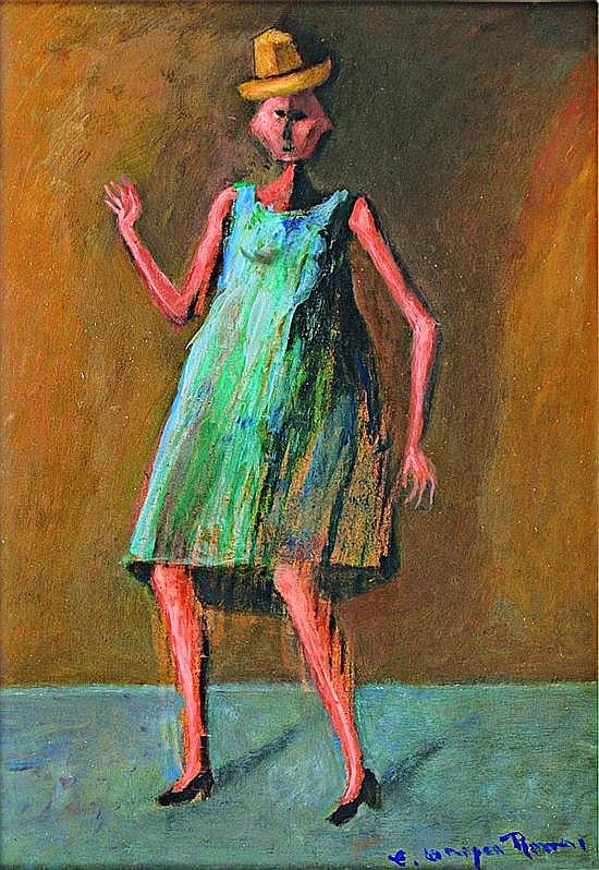 CARLOS OROZCO ROMERO, Mujer con sombrero-muñequita, Firmado, Mixta sobre fibracel, 30 x 22 cm.