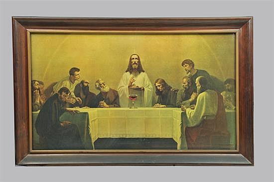 La última cena. Reproducción sobre cartoncillo. Enmarcada, sin firma, ni fecha. Presenta detalles de conservación. 60 x 102 cm.~