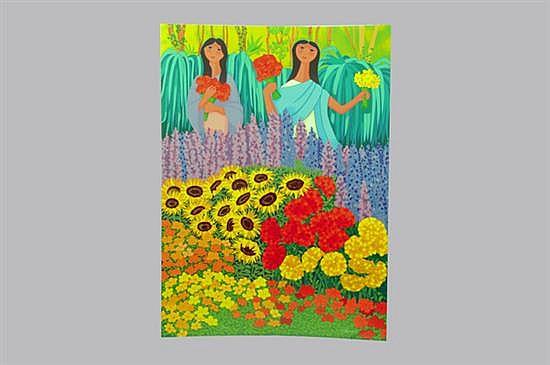 Trinidad Osorio. Girasoles. Serigrafía, serie 11/200. Sin enmarcar, firmada y sin fechar. Dimensiones: 97 x 70 cm.