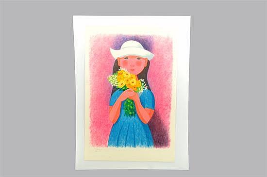 Trinidad Osorio. Gabriela. Litografía, serie 44/300. Sin enmarcar, firmada y fechada (París 1993). Dimensiones: 90 x 60 cm.