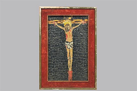 Cristo. Origen italiano, Ca.1930. Elaborado con mosaicos policromados. Enmarcado, sin firma, ni fecha. Detalles. 45 x 28 cm.