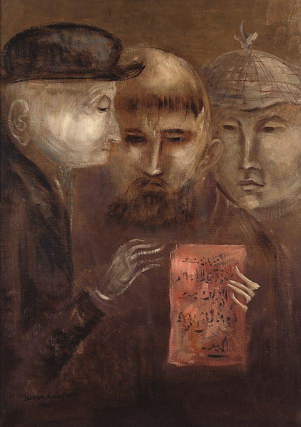 LEONORA CARRINGTON, Sin título, Firmado y fechado, 1960 Óleo sobre tela, 65 x 45, OBRA PUBLICADA EN EXPO. MACO-MONTERREY