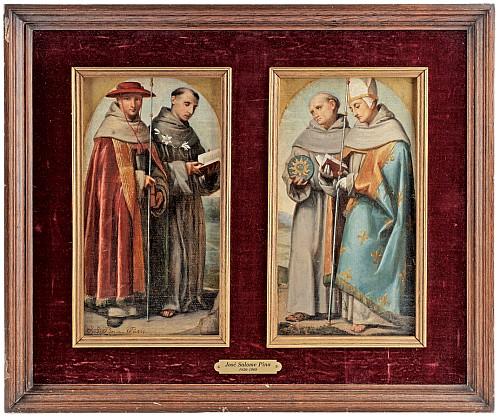 JOSÉ SALOMÉ PINA (MÉXICO, 1830-1909) Jerarquía de la iglesia católica. Díptico. 27 x 14 cm cada panel.