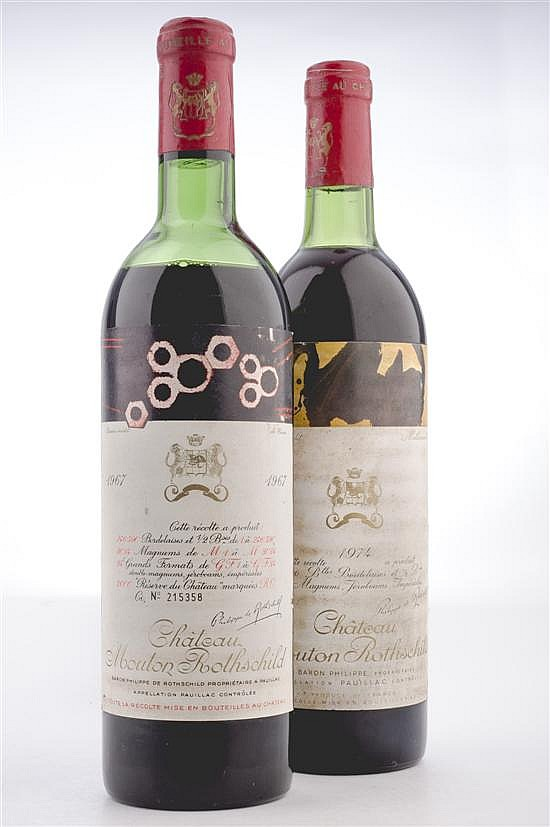 Chateau Mouton Rothschild. Cosechas 1967 y 1974. Piezas: 2.