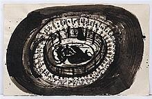 SERGIO HERNÁNDEZ, Sin título (Tauromaquia), Firmada y fechada 2003. Tinta china sobre papel. 52 x 82 cm, Con copia de certificado.