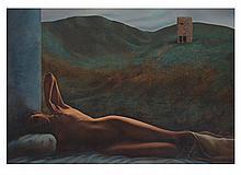 LUIS FRACCHIA, Autorretrato en la geografía del deseo, Firmado y fechado 94. Óleo sobre tela. 120 x 175 cm. Con certificado.