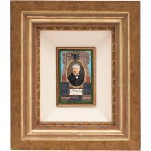 RETRATO DEL HISTORIADOR MANUEL OROZCO Y BERRA. MÉXICO, SIGLO XIX. Óleo sobre gutapercha, borde de madera dorada, marialuisa de tela.