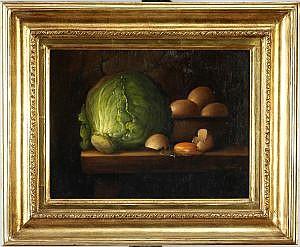 ARMANDO AHUATZI, Bodegón con coliflor y huevos, Firmado y fechado, 81, Óleo sobre tela, 30 x 40 cm