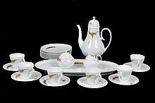 Juego de café. Origen alemán. En porcelana Rosenthal. Servicio para 6 personas. Piezas: 22