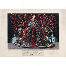 SALVADOR DALÍ, Les cannibalismes de l'automne, de Les diners de Gala, 1977, Firmada, Litografía offset 153/195, 55.5 x 74.5 cm