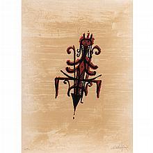 WIFREDO LAM, De la carpeta El último viaje del buque fantasma, 1976, Firmada, Litografía E. A. VIII / XX, 76 x 55 cm