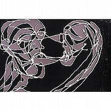 EMILIANO GIRONELLA PARRA, Discutiendo con la muerte, Firmada Xilografía y serigrafía 4 / 5, 76.5 x 117 cm, Con certificado