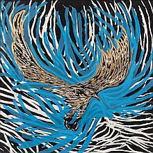 EMILIANO GIRONELLA PARRA, El veloz vuelo del águila..., Firmada, Xilografía y  serigrafía con hoja de oro 1/2, Con certificado
