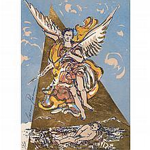CARMEN PARRA, Firmadas, Arcángeles, Serigrafías con hoja de oro, 35.5 x 25.5 cm cada una, Piezas: 3, Con certificado
