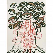 CARMEN PARRA y EMILIANO GIRONELLA PARRA al alimón, Ángel y árbol con ojos, Firmada, Serigrafía y hoja de oro P/A, Con certificado