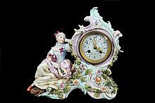 Reloj. Origen estadounidense. Circa 1900. Marca Gollamore & C. New York. En porcelana policromada. Carátula blanca, índices arábigos