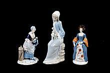 Lote de figuras decorativas. Origen alemán y español. En porcelana, acabado brillante. Piezas: 3