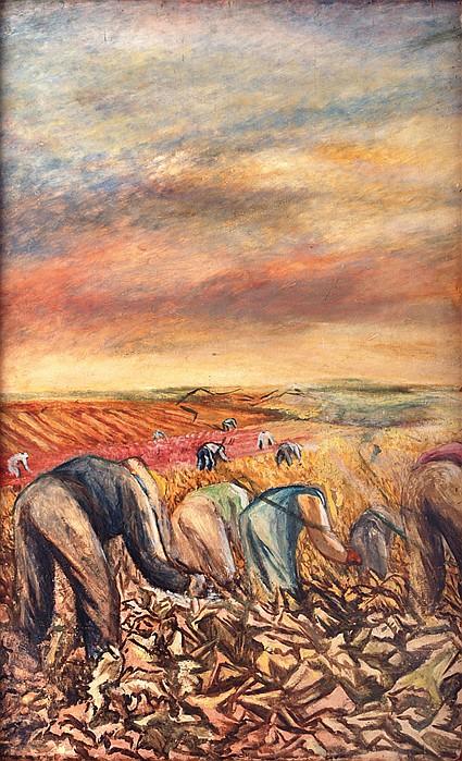 FANNY RABEL, Niños / campesinos, Firmado y fechado 1960, Óleo sobre masonite pintado por ambos lados, 74.5 x 121 cm.