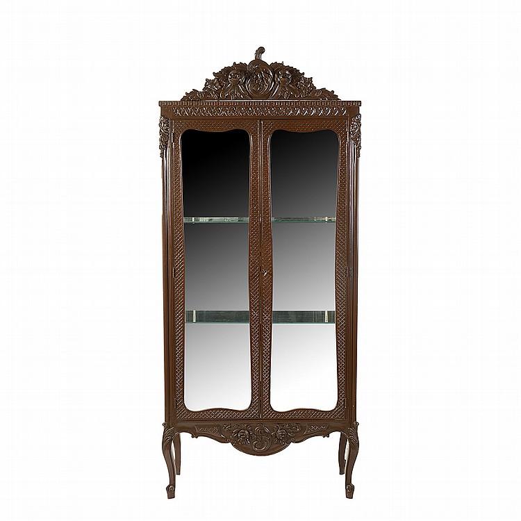 Vitrina siglo xx estilo luis xv elaborada en madera talla for Vitrina estilo industrial