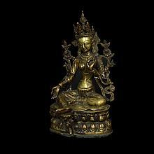 Buda tibetano en meditación. Siglo XX. Fundación en bronce.